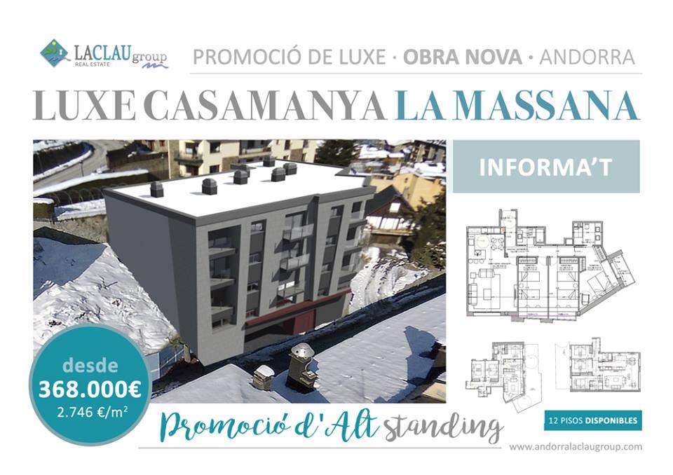 Venda de pisos de tres habitacions en el centre de la Massana de 114 m2 a 133 m2, amb acabats de luxe de les principals marques i amb sistema de aerotermia i sòl radiant, per a millorar l'eficiència i el confort.